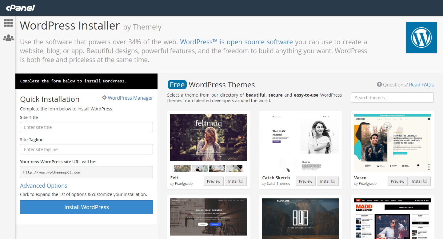 Preview of cPanel dashboard for Themely WordPress Installer
